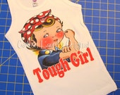 tank tee shirt one piece body suit tshirt Vintage inspired childrens tshirt Tough Girl Rosie the riveter..