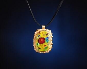 Vita Yellow Cell Pendant - cloisonne enamel pendant