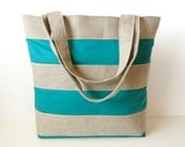 Green Striped Linen Burlap Tote Bag - Beach Bag- Summer Market Tote - JuneberryStitches