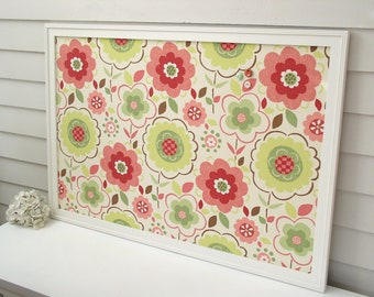 Girls Bulletin Board - X-Large Floral Magnetic Memo Board - Framed with Handmade Frame and Designer Fabric