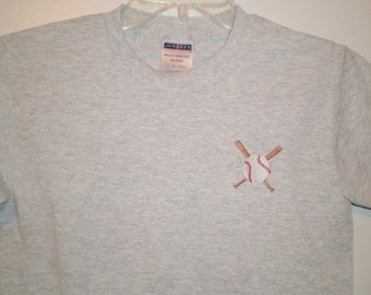 On Sale: Boys T-Shirt Embroidered with Baseball and Bats Multiple Sizes Heather Gray