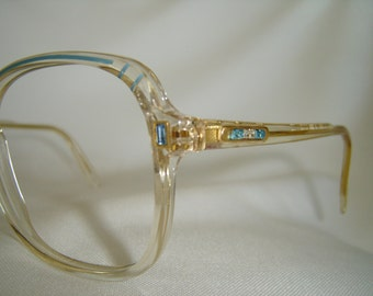 Vintage '80'S Revue Eyeglasses, Square Shape, Blue Rhiestone Crystals, Italy, Very Unique, New Old Stock