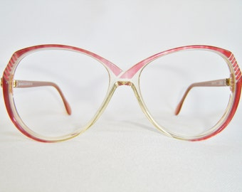 Vintage '80'S Silhouette Eyeglasses, Round Shape, Red Plum Crystal & Peach Color, Austria, New Old Stock