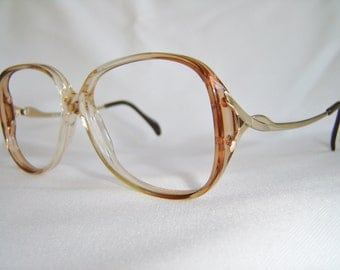 Vintage '80'S BerDel Eyeglasses, Brown/Crystal & Gold, Italy. New Old Stock