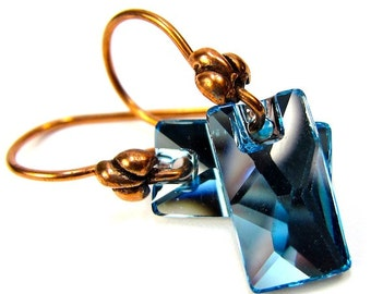 Light Sapphire Swarovski Crystal and Copper Earrings, Pendular Lochrose