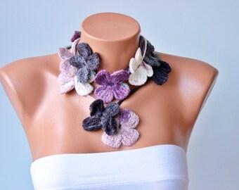 SALE -  crochet lariat scarf  ,flower  crochet  lariat scarf ,lariat crochet jewelry ,short size