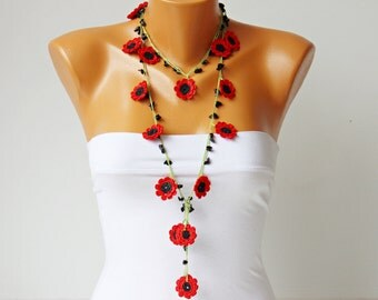 beaded necklace  jewelry ,poppy  crochet necklace,oya crochet flower necklace
