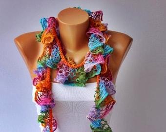 crochet lariat ,flower scarf,ruffle scarf ,lariat scarf