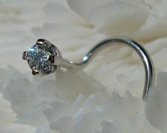 CANADIAN DIAMOND, 2mm, Platinum, diamond nose jewelry, nose jewelry, platinum nose jewelry, nose stud, diamond nose, nose ring, nose screw