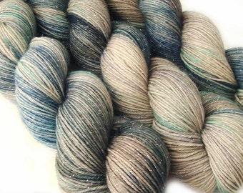 glitter sock yarn EURYDICE hand dyed sw merino nylon stellina 3.5oz 435 yards