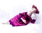 Summer Lavander OOAK ART DOLL Handmade Soft Sculpture elegant handpainted lilac romantic Fabric Art Doll