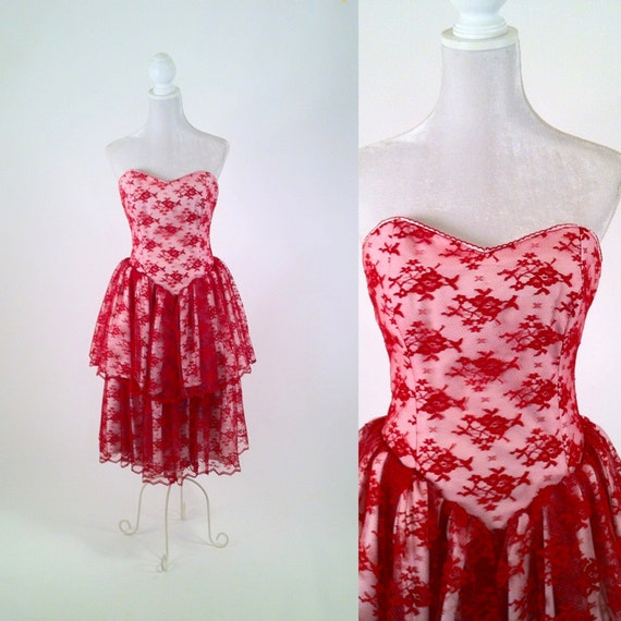 RESERVED Vintage 1980s Red Lace Ruffled Tiered and Strapless Dress