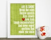 Life is Short Digital Typography Art Print Poster Green Leaves Red Heart