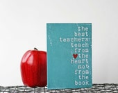 Teacher Thank You Card The Best Teachers Original Greeting Card Distressed Turquoise Teal Aqua Graduation School
