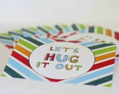 Greeting Card Sorry - Apology Card - Lets Hug it Out Rainbow Stripe Chevron Pattern Multicolor Apology Sorry Friend Card