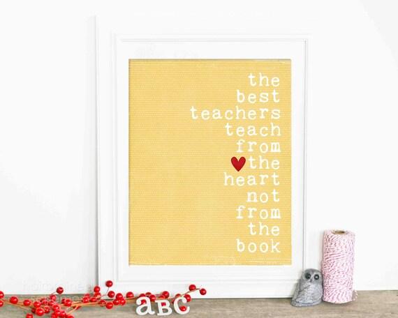 Teacher Appreciation Poster Gift Teacher Thank You Gift Art Print Best Teachers Yellow Polka Dot Red Heart