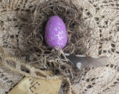 "Up cycled Vinatge Silver Spoon ""Nest"" feather Purple-thebagglady76-TREASURY ITEM"