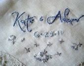 Custom Embroidered Vintage Occasion Handkerchief -  Hand Embroidery - 2 lines plus small detail