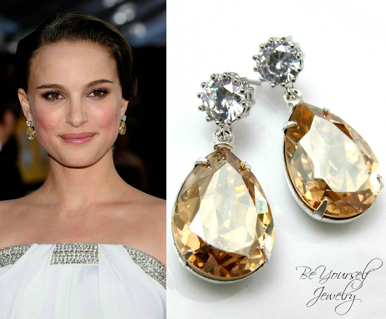 Champagne Bridal Earrings Teardrop Bride Earrings Swarovski