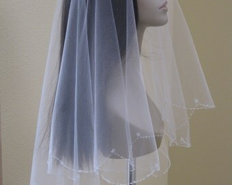 hand beaded wedding veils/hand beaded bridal veils/scallop edging veils/beaded scallop edging