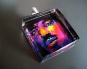 Fine Art Glass Tile Pendant, Jimi Hendrix