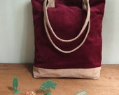 SALE - Handmade corduroy tote (with pocket lining)