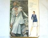 Womens Vintage 1973 Vogue Pattern Anne Klein 1970s Vogue Americana Designer Misses Suit Blazer Skirt Blouse Pattern 2825 Size 12