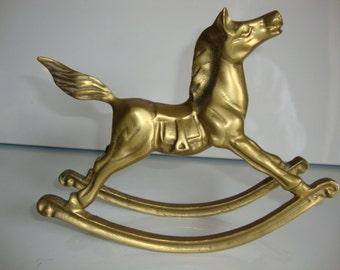 Brass Rocking Horse, Brass Animal, Rocking Horse, Toy Animal