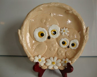 Owl Figurine Ceramic Dish, Josef Original Owl Dish, Decorative Dish