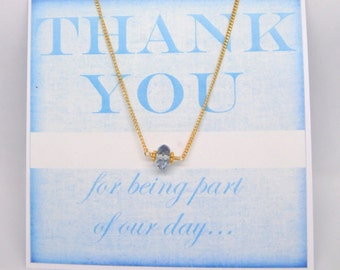 Will You Be My Bridesmaid Card and Gift/ Aqua Marine Gemstone Necklace/Thank You Gifts