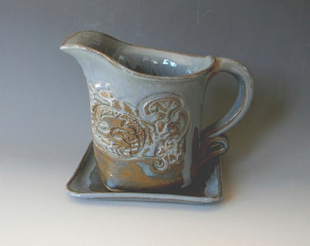 Lace Impressed Ceramic Gravy Boat