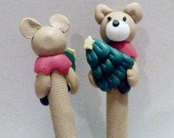 New Cute Polymer Clay Fimo Teddy Bear with Christmas Tree Pen