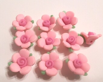 10 Fimo Polymer Clay Pink Flowers Fimo Beads 17mm