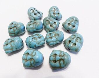 New  5 Gemstone Turquoise Buddha Face Beads 15mm