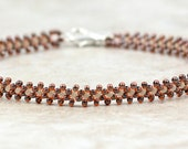 Beaded Anklet - Seed Bead Anklet - Ankle Bracelet - Summer Jewelry - Beadwork Jewelry - Daisy Chain Anklet - Brown Anklet