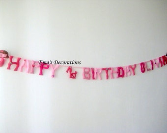 Birthday Banner for Girls with Name and Fairies