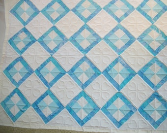 Blue and white infant quilt, with lots of hearts