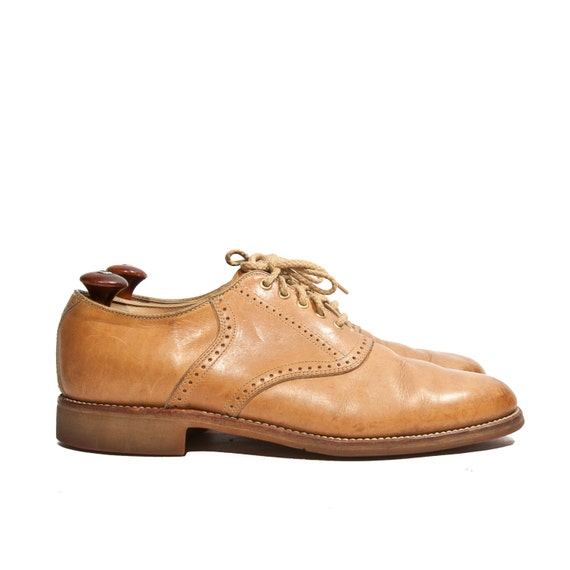 Mens Tan Leather Saddle Shoes By Dexter Brogue Oxford