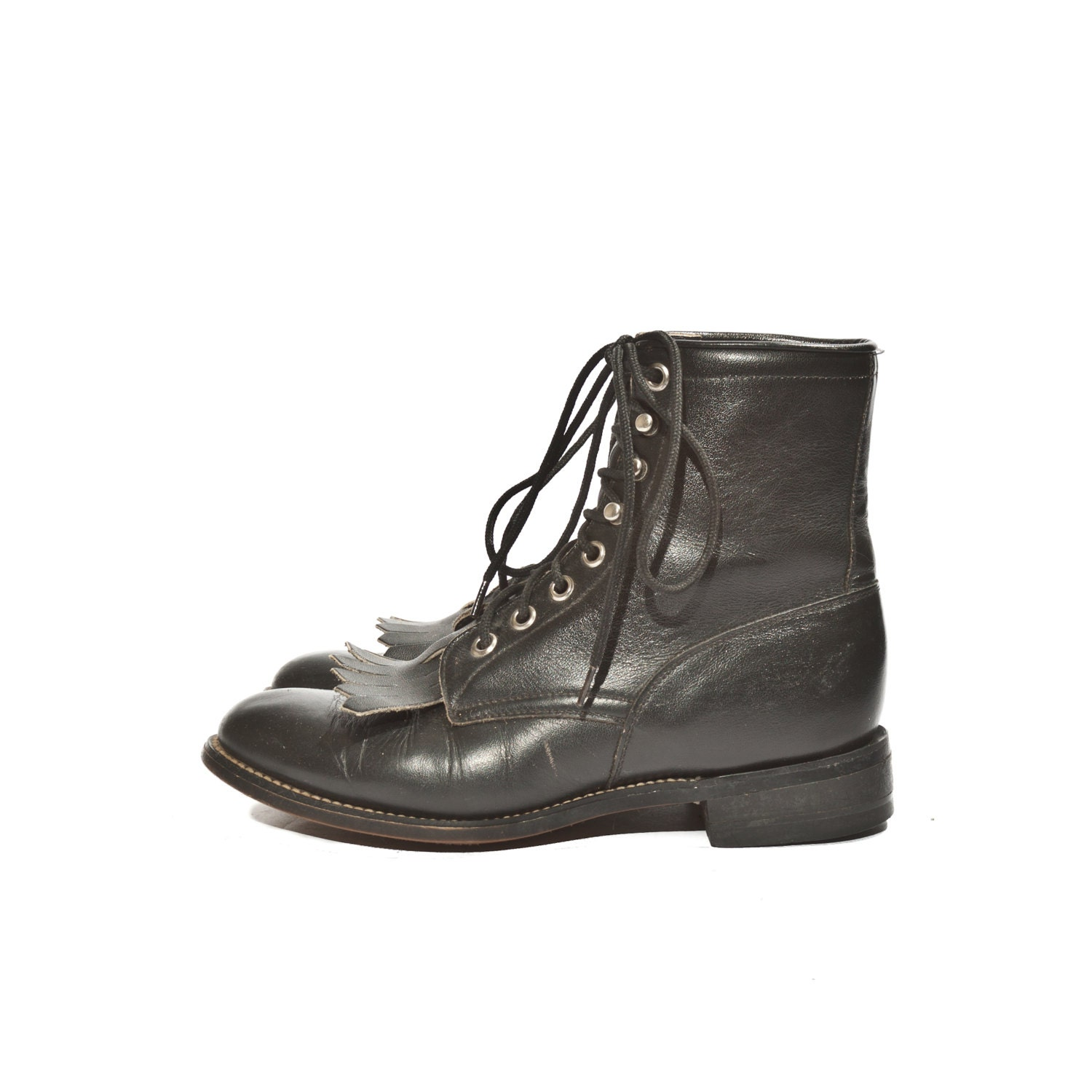 s shorty lace up justin roper boots black leather
