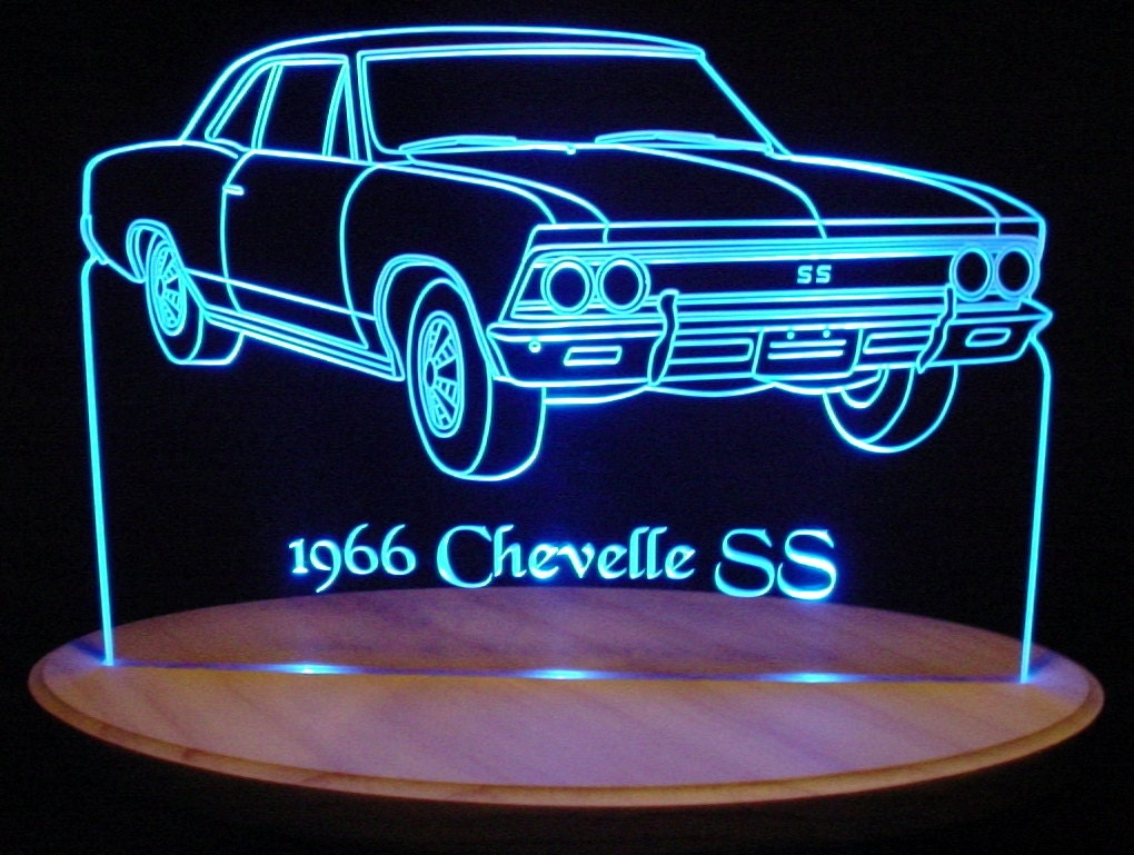 1966 chevelle ss acrylic lighted sign 66 acrylic light up led. Black Bedroom Furniture Sets. Home Design Ideas