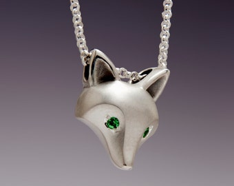 silver fox pendant  with diamond eyes.  with chain.   SATIN finish,