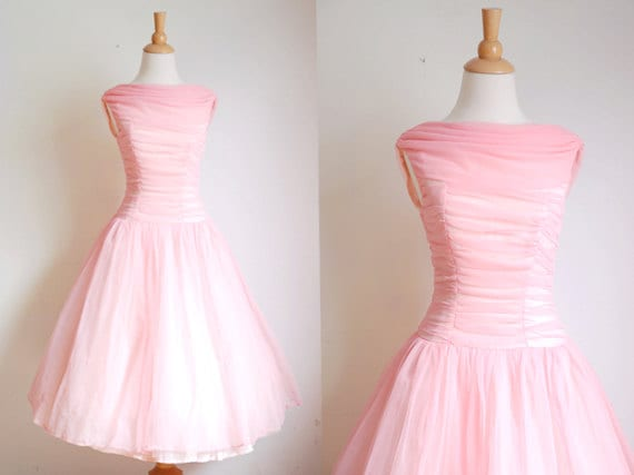 1950s Dress // 50s Pink Chiffon Prom Dress // by TrunkofDresses