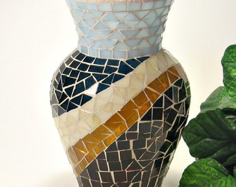 Stained glass mosaic vase steel blue brown amber