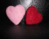 Red or Pink Felt Sachet Heart / Lavender Scented / Herbal Christmas Ornament / Valentine Party Decoration / Romantic Wool Needle Felt