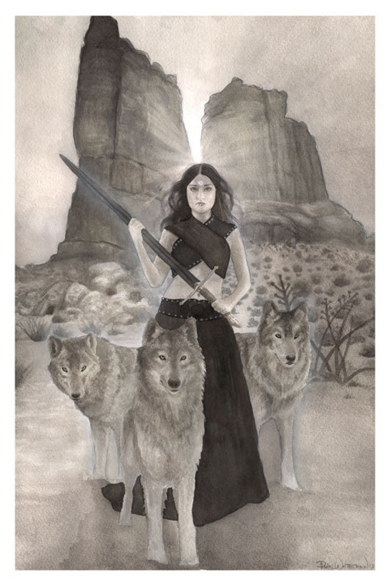 Wolves - Original Wolf and Warrior Woman Art - Ink Painting in black and white