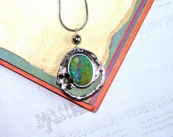 Felt Pendant Necklace Forest fairy mint gold purple violet green silk OOAK