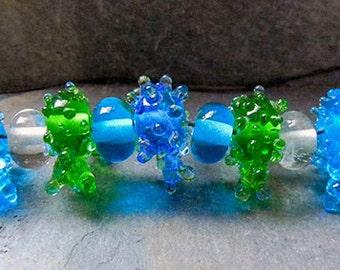 Blue Green Shiny Lampwork Beads  - 11  SRA Handmade Lampwork Glass Beads - WATER Spirit