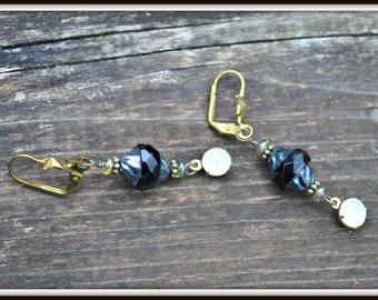 Midnight Sky Earrings Black Glass and brass star unique jewelry gift