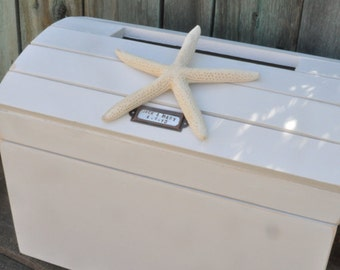 Personalized Beach Wedding Card Box, Seashell Trunk, Beach Wedding or Anniversary Gift Personalized for Beach decor