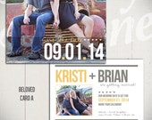 Save The Date Card Template: Beloved Card A - 5x7 Engagement Card Template
